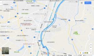 乙字ヶ滝からコンフォートホテル郡山への経路(みちのく自転車道2)