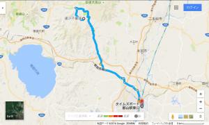 達沢不動滝から郡山駅東口駐車場への経路