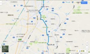 乙字ヶ滝からコンフォートホテル郡山への経路(下江持橋まで)