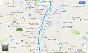 まざっせプラザから乙字ヶ滝への経路(須賀川市境まで)