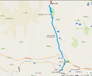 磐梯熱海駅から銚子ヶ滝入口駐車場への経路