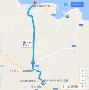 湖南公民館から青松浜湖水浴場への経路