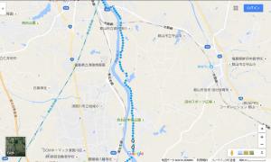 乙字ヶ滝からコンフォートホテル郡山への経路(みちのく自転車道1)