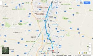 まざっせプラザから乙字ヶ滝への経路